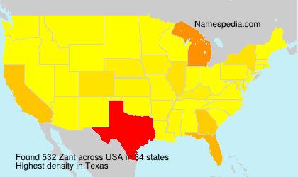 Surname Zant in USA