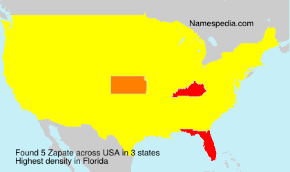 Surname Zapate in USA