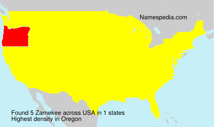 Surname Zarnekee in USA