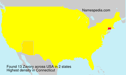 Surname Zavory in USA