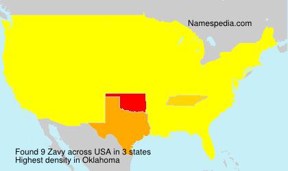 Familiennamen Zavy - USA