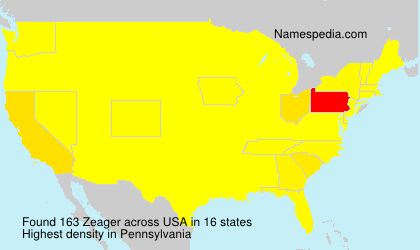 Surname Zeager in USA