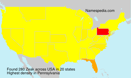 Surname Zeak in USA