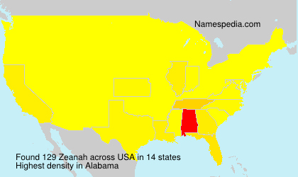 Surname Zeanah in USA
