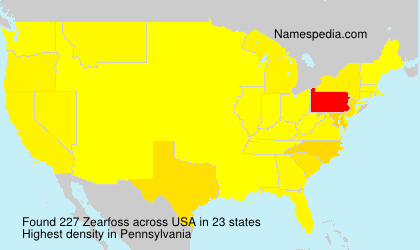 Surname Zearfoss in USA