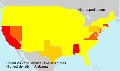 Surname Zebal in USA