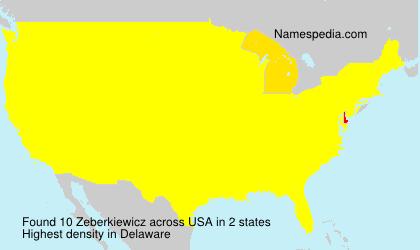 Surname Zeberkiewicz in USA
