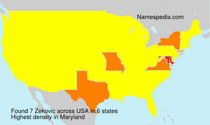 Familiennamen Zekovic - USA