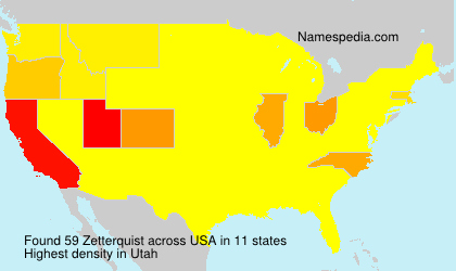 Surname Zetterquist in USA