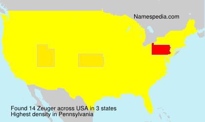Surname Zeuger in USA