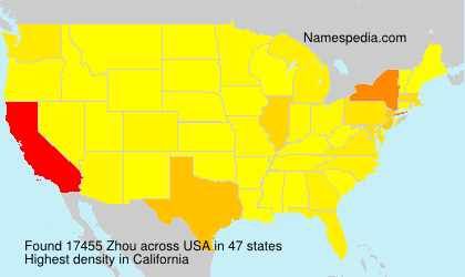 Surname Zhou in USA