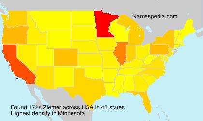 Surname Ziemer in USA