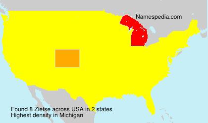 Surname Zietse in USA