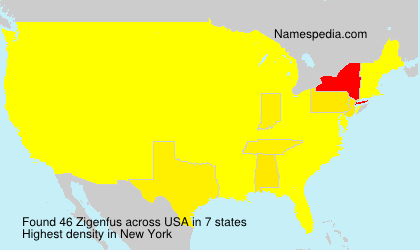 Familiennamen Zigenfus - USA