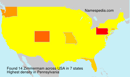 Surname Zimmermam in USA