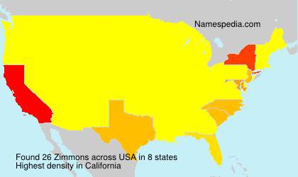 Surname Zimmons in USA