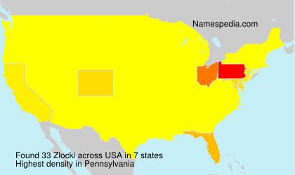 Familiennamen Zlocki - USA