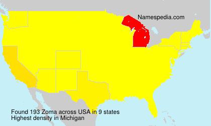 Familiennamen Zoma - USA
