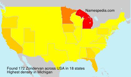 Surname Zondervan in USA