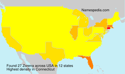 Surname Zorena in USA