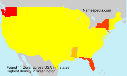 Surname Zorer in USA