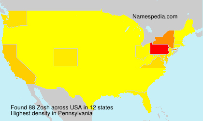 Familiennamen Zosh - USA