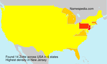 Surname Zotte in USA