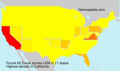Surname Zovak in USA