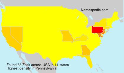 Surname Zsak in USA