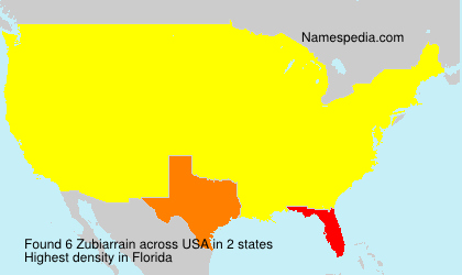 Surname Zubiarrain in USA