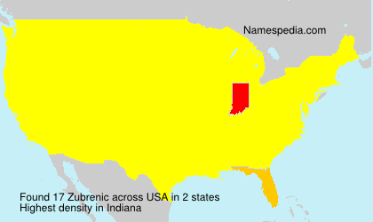 Surname Zubrenic in USA