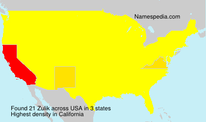 Surname Zulik in USA