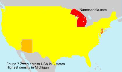 Surname Zwen in USA