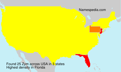 Surname Zym in USA
